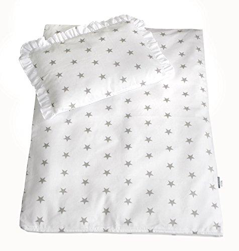 Rawstyle 4 tlg. Set Bezug (Weiß + Sterne Grau) für Kinderwagen 70x50 cm Garnitur Bettwäsche Decke + Kissen + Füllung