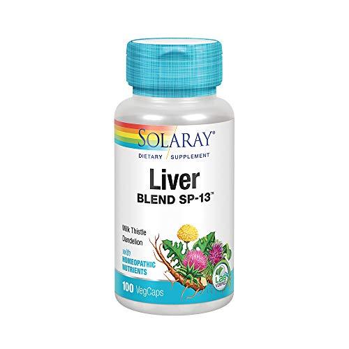 Solaray Liver Blend SP-13 | Healthy Liver & Kidney Support with Milk Thistle, Dandelion, Artichoke Leaf, Kelp, Peppermint Aerial & More | 100 VegCaps