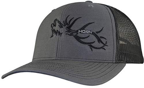HORN GEAR Trucker Hat - Hunting Hat Series - Elk Hat Edition - High Air-Flow Cooling Mesh Design (Charcoal/Black)