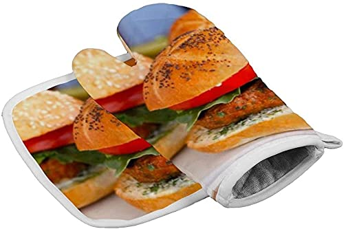 BONRI Guantes aislantes Spiced-Up-Turkey-Burgers- Soporte para ollas de Cocina Resistente al Calor y Juego de Manoplas para Horno microondas Guantes de tamaño 16.5x27.5cm