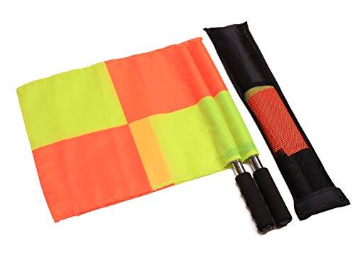 CZ-XING Wasserdichtes Schiedsrichter-Flaggen-Set für Fußballtraining, Linesman, Metallstange, Schaumstoffgriff mit Tragetasche, Orange/Gelb (Typ B)