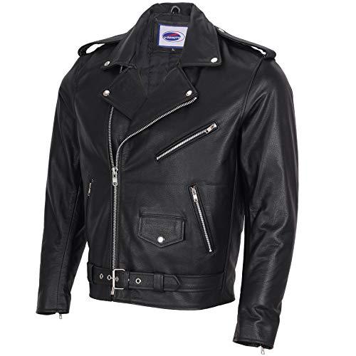 IXIA MOTO Chaqueta de cuero para motocicleta para hombre, chaqueta de motociclista, color negro, chaqueta de cuero estilo rockero, chaqueta de motocicleta clásica