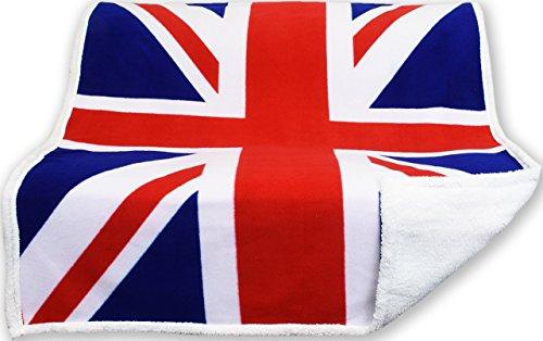 Tata Home Plaid Coperta Bandiera Da 460 Gr.Mq. In Caldo E Morbido Pile Di Microfibra Di Poliestere Con Retro In Effetto Agnellato Sherpa Misura 160X210 Cm Dis. Inghilterra