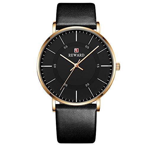 Relojes para Hombre Relojes de Cuarzo analógicos con Fecha Impermeable de Acero Inoxidable-E