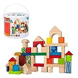 Woomax- cubo 50 bloques de madera natural (40994)