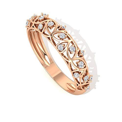 Alianza de boda con diamante certificado IGI de 0,19 quilates, diseño floral, para novias de oro grabado, anillo de eternidad, único de filigrana, regalo
