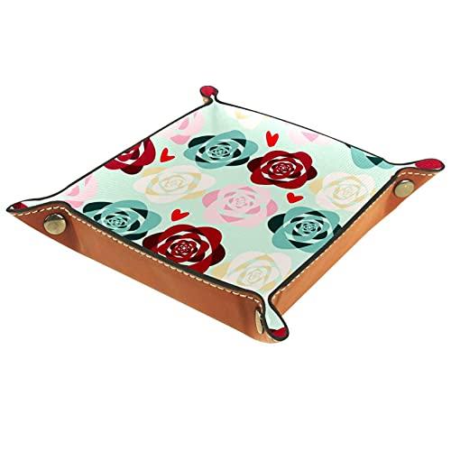 LXYDD Bandeja de Valet de Cuero Multiusos Caja de Almacenamiento Organizador de bandejas Se Utiliza para almacenar pequeños Accesorios,Rosas de Color Rojo Verde Rosa y Amarillo