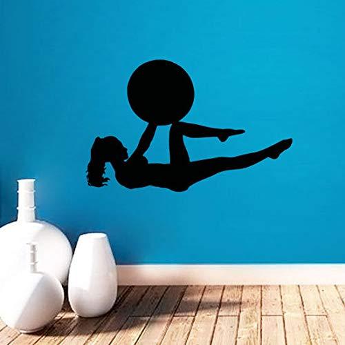 Tianpengyuanshuai Gym Wandaufkleber Frau Sportball Wand Gymnasium Kunst Vinyl Wandaufkleber Home Decor Wandaufkleber 88X132cm