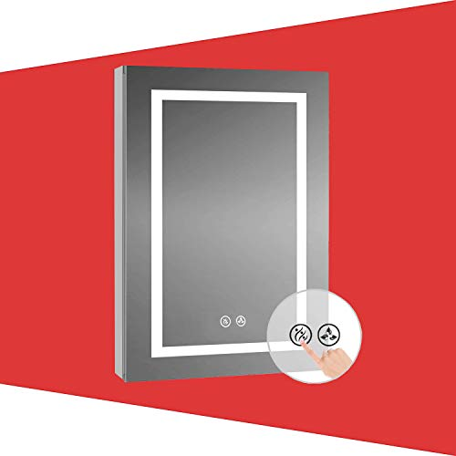 Recessed or Surface LED Mirror Lighted Medicine Cabinet with Lights, LED Medicine Cabinet with Defogger (20x32/Left Hinge)