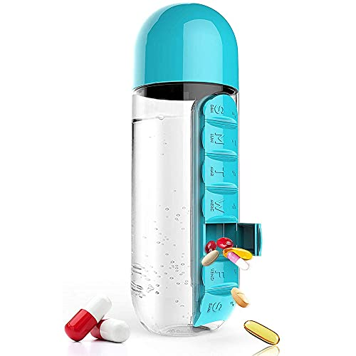 cnmd Pastillero Vaso, Pastillero Botella de Agua con Semen, Botella de Agua 2 en 1 con Soporte para Pastillas, Portátil, Viaje, Kit de Senderismo Botella de Agua 600 ml (Azul)