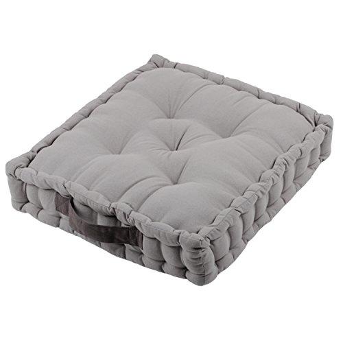 Alphadeco Sitzkissen Uni aus 100% Baumwolle (170g/m2) - 45x45x10cm - Bodenkissen, Stuhlkissen, Sitzerhöhung (Mausgrau)