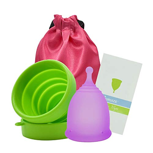 Copa Menstrual Furuize Sport con Taza de Esterilización. Silicona suave de grado médico 100%. Previene infecciones y fortalece el suelo pélvico. Alternativa saludable, económica y ecológica