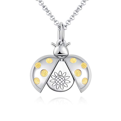 Memorial Cremation Urn Pendant Necklace Women Girls 925 Sterling Silver Ladybug Sunflower Locket Funeral Jewelry Keepsake for Loved One Ashes