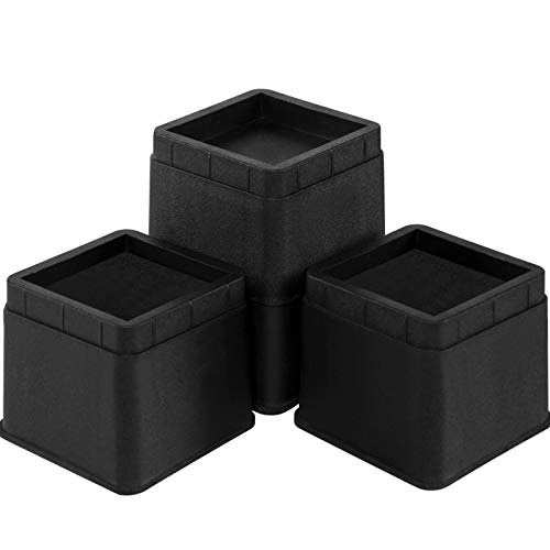 Joyclub Bed Risers 3 Inch Heavy Duty Stackable Furniture Risers for Sofa Table Couch Lift Height of 3 or 6 Inches (4 Pack Black)