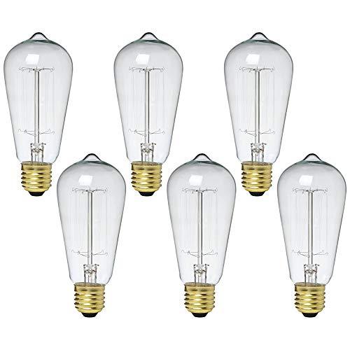 Tesler 60W Standard Nostalgic Edison Style Light Bulb 6-Pack - Tesler