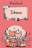 Notizbuch Johanna: Notizbuch mit namen - Einhorn - 110 linierte Seiten Personalisiertes Notizbuch (20,32 x 25,4 cm ~ DinA5)