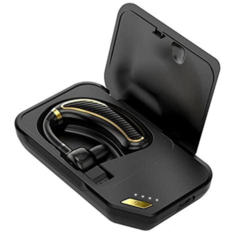Auriculares Bluetooth inalámbricos, batería de 300 mAh para tiempo de espera largo, apto para iPhone Xiaomi Mic Hd Music Headset (compartimento de carga, oro)