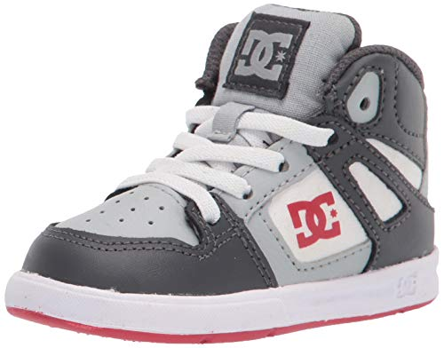 DC boys Pure High-top Skate Shoe, Grey/Red, 10 Toddler US