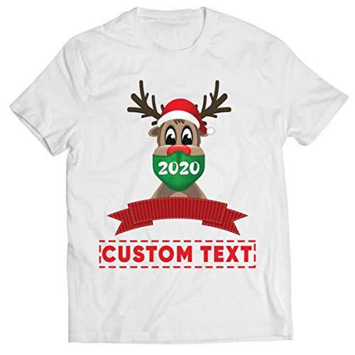 lepni.me Männer T-Shirt Gewohnheitsname Rentier Rudolph 2020 Weihnachtsfeiertage Sperre (X-Large Weiß Mehrfarben)