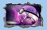 Cassé Sticker Pokémon 3D Smashed Wall Decal Graphique Wall Sticker Home Decor Art Mural Stickers 60X90 Cm/23.6X35.4 Pouces.