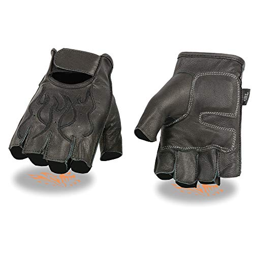 Milwaukee Leather SH198 Men's Black Flame Embroidered Fingerless Gloves with Gel Palm - Large