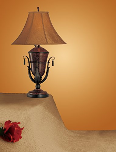 Poundex F5237 Set of 2 Table Lamps in Bronze Finish, Multi