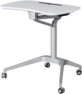 シンプルなスタンディング折りたたみ式モバイルリフティングデスクラップトップテーブルワークベンチ表彰台テーブルコーヒーテーブルコンピュータデスク (色 : 白)