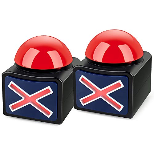 Meejune Game Buzzer Alarm Sound Play Button with Light Trivia QuizTrivia Quiz Got Talent Buzzer for Kids Adult Pack of 2