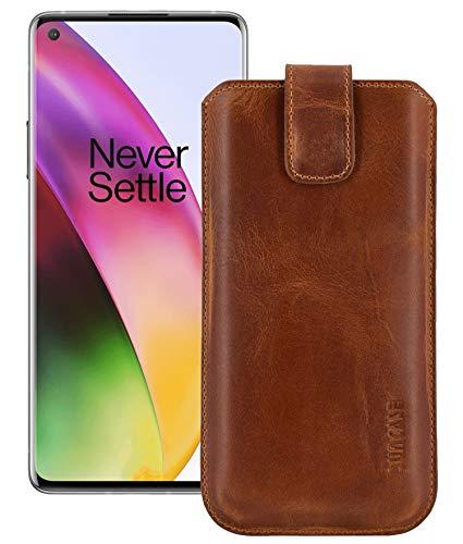 Suncase OnePlus 8 Leren tas rugzak, antiek cognac