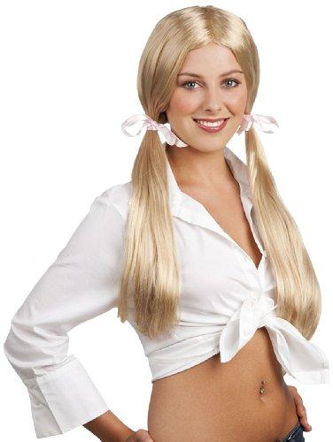 Boland 86379 - Perücke Schulmädchen Lange Haare, mit Zwei Zöpfen, blond