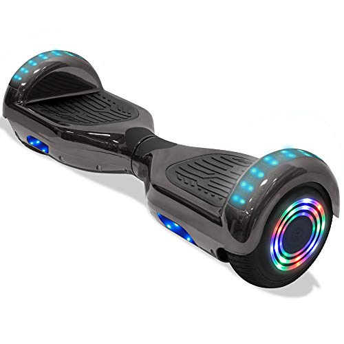 Electric Hoverboard Smart Self Balancing Scooter Hover Board 6.5   Wheel Electric Scooter for Adults and Kids (Shiny-Dark)