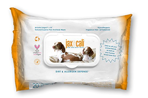 """JAX & CALI Pet Wipes, Natural Textured Paw and Body Wipes, Hypoallergenic, pH Balanced, Vitamins B3 & E, Soothing Aloe, No Fragrance, Holistic, Cruelty Free, Dogs & Cats, Extra Large 8""""x10"""", 20 Wipes"""