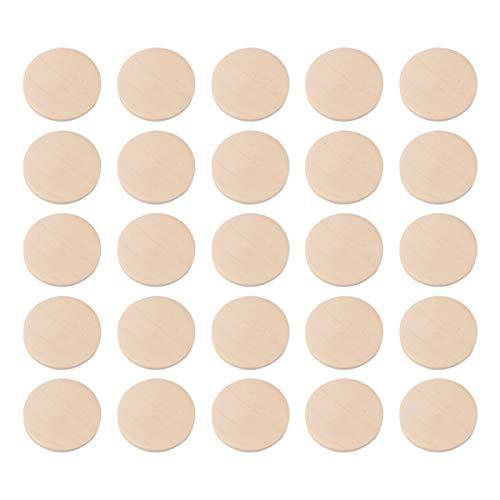 Healifty 50 Piezas de Discos Redondos de Madera sin Terminar en Blanco Rebanadas de Madera Círculos para Banquetes de Boda Manualidades Adornos Decoración