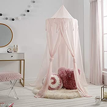 A LOVE BRAND Canopy Tent Bed Canopy Round Dome Mosquito Net Triangle Tufted Fringed Lace Baby Boys Girls Games House - Pink