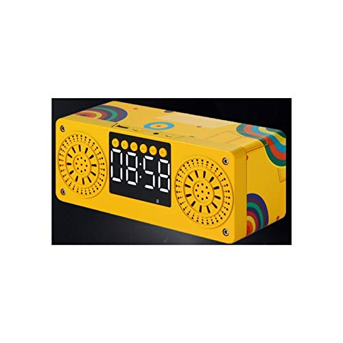 KJCHEN. Altavoz Bluetooth Wood Mini Pequeño Audio Break Break Alarma Multifunción inalámbrica portátil al Aire Libre (Color : Yellow)