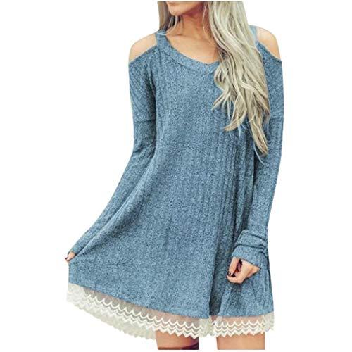 Dasongff gebreide jurk met kant, eenkleurig trui jurk casual losse herfstjurk off shoulder kanten jurk swing pulloverjurk elegante
