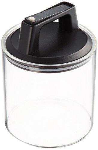 Felio 保存容器 ガラス キャニスター 900cc エア・リデューサー レギュラー ワンタッチ操作 密閉 酸化防止 色移り心配なし F8745