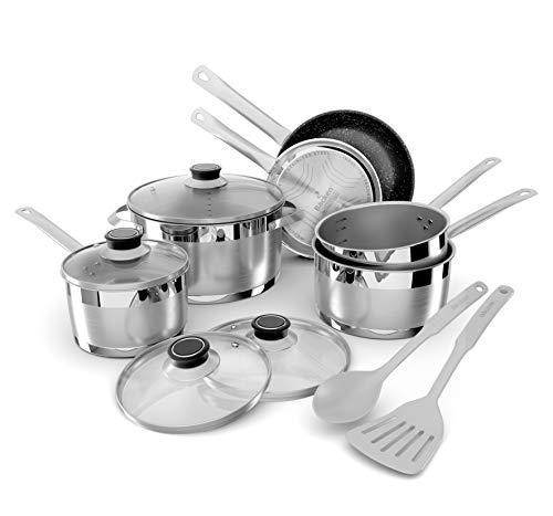 Backen 659912batería de cocina de acero inoxidable 12pieces inducción, gris