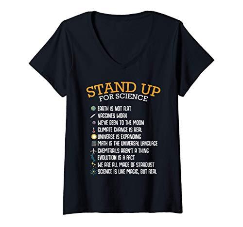 Donna Stand Up For Science Cambiamento climatico Fisica Biologia Maglietta con Collo a V