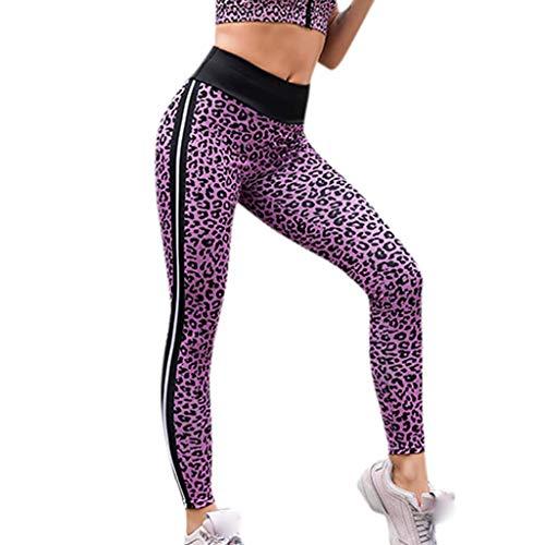 HULKY Vendita di Liquidazione Nuovo Aggiornamento Donne Leopardo Pantaloni Plus Size Leggings Corsa Sport Fitness Pantaloni Hips Yoga Pant(Viola,Small)