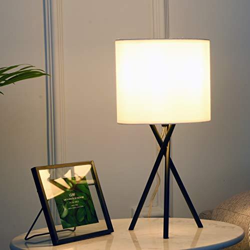 Lámpara de mesita de noche moderna pequeña – Lámpara de escritorio negra para sala de estar dormitorio con pantalla de tela blanca