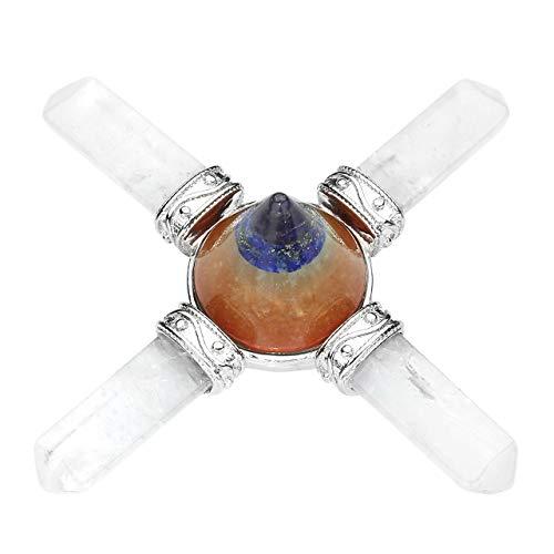 CrystalTears Deko 7 Chakra Kegel Reiki Healing Steine mit Bergkristall Dreieckige Säule Energy Generator Kupfer Edelstein Dekoration