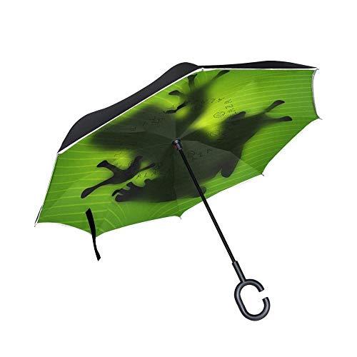 STREET nieuwe creatieve fantasie kikker omgekeerde paraplu C-handvat dubbele laag binnenstebuiten omgekeerde auto paraplu