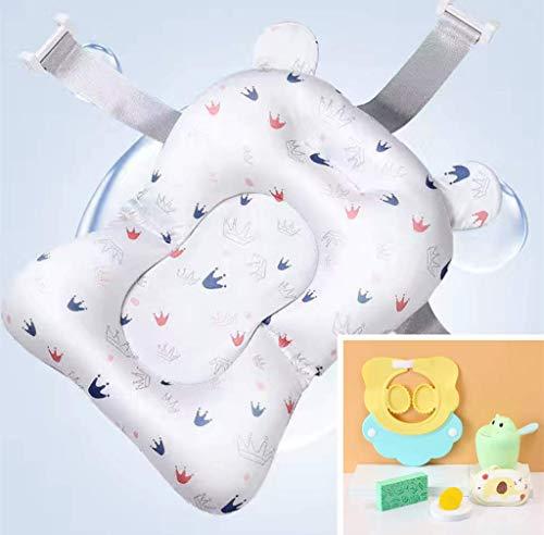 Cuscino per vasca da bagno per neonati, pieghevole, antiscivolo, per bambini da 0 a 12 mesi, colore: bianco