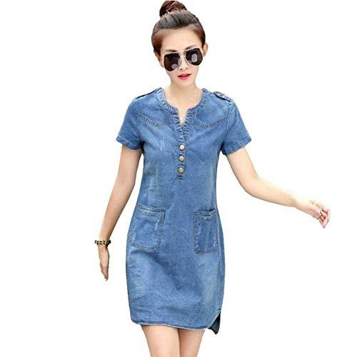 PYLOVER Denim Dresses Women Summer Plus Size Female Short Sleeve Loose Clothes Casual Cowboy Dress