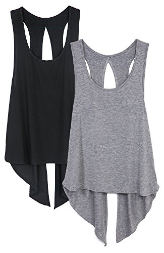 icyzone Sexy Yoga Tops Workout Clothes Racerback Tank Top for Sport Women (S, Black/Grey)