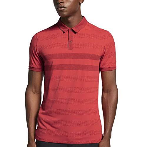 NIKE Dri Fit Zonal Cooling Stripe OLC Golf Polo 2019 Team Crimson X-Large