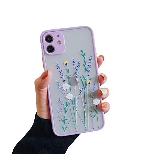 VUTR Custodia per iPhone 11 con Motivo Floreale [Protezione per la Lente incorporata] Cover per iPhone 11 dal Design poetico con Parte Posteriore smerigliata Trasparente - Lilla