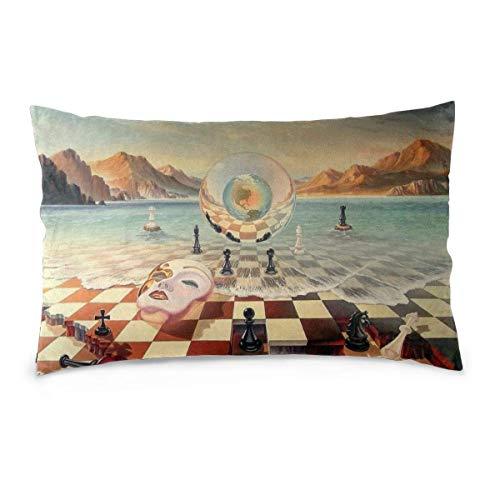 AEMAPE Funda de cojín Rectangular The Fools Rule The World Juego de ajedrez Fundas de Almohada para decoración del hogar 50X75 Cm