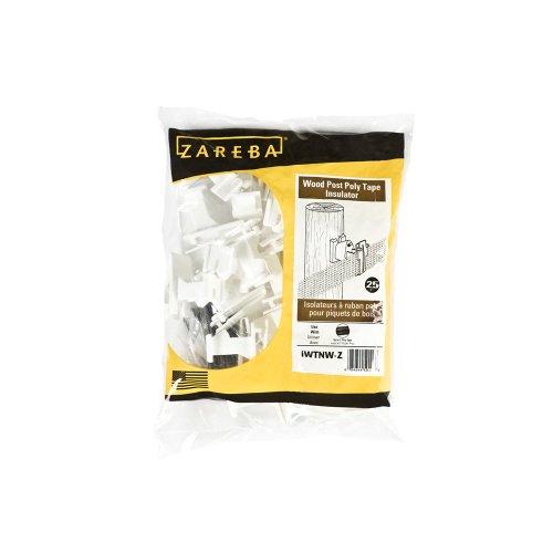 Zareba IWTNW-Z Poly Tape Wood Post Insulator, 25 per Bag,White